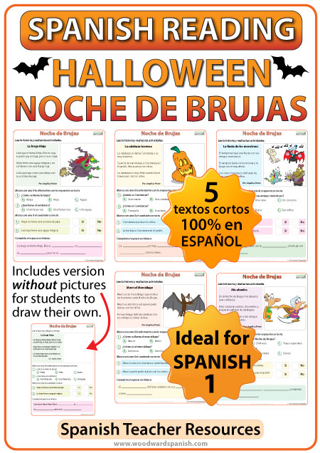 Spanish 1 Reading Passages in Simple Present Tense about Halloween - Noche de Brujas