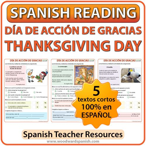 Spanish 1 Reading about Thanksgiving Day - Lecturas del Día de Acción de Gracias
