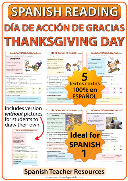 Spanish Thanksgiving Day Reading for Spanish 1 - Lecturas del Día de Acción de Gracias