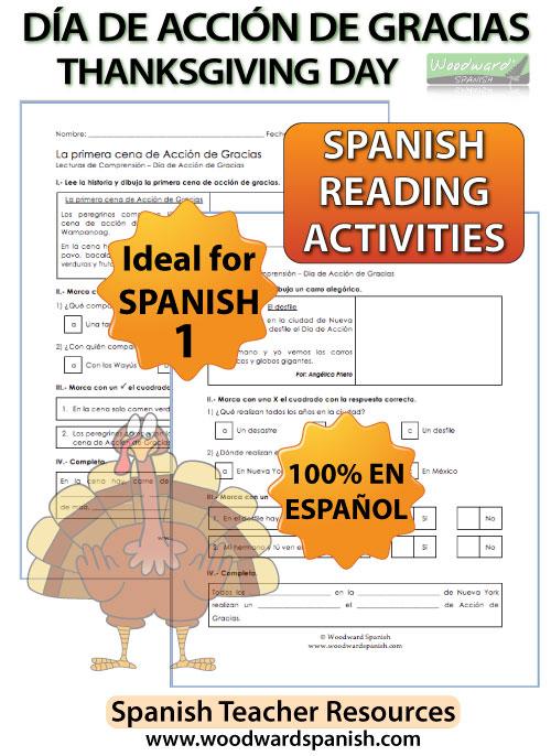 Spanish Thanksgiving Day Reading for Spanish 1 - Lecturas del Día de Acción de Gracias