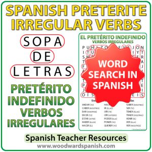 Spanish Preterite Irregular verbs word search - Pretérito indefinido - Sopa de Letras
