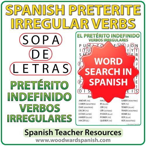 Spanish Preterite Irregular verbs word search - Pretérito indefinido - Sopa de Letras