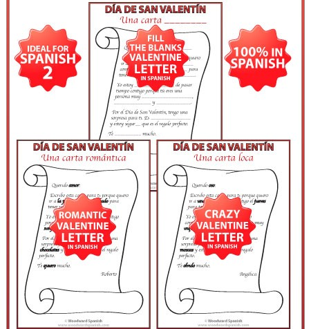 Spanish Valentine Letters - crazy letter, romantic letter and fill the blanks letter in Spanish.
