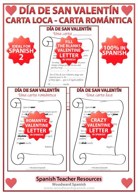 Valentines Day Letters in Spanish  Da de San Valentn