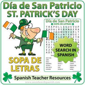 Spanish St. Patrick's Day Word Search - Sopa de Letras del Día de San Patricio