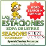 Las estaciones - Seasons - Spanish Word Search - Sopa de Letras