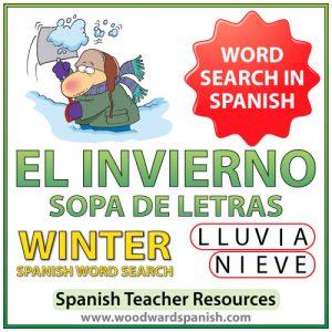 El Invierno - Winter - Spanish Word Search - Sopa de Letras