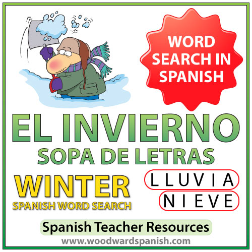El Invierno - Winter - Spanish Word Search - Sopa de Letras