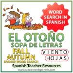 El otoño - Fall Autumn - Spanish Word Search - Sopa de Letras