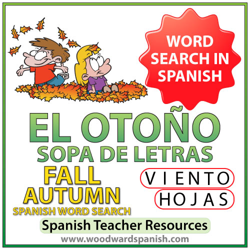El otoño - Fall Autumn - Spanish Word Search - Sopa de Letras