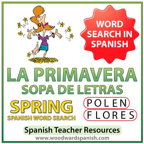 La primavera - Spring - Spanish Word Search - Sopa de Letras