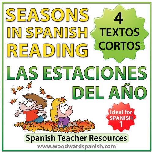Seasons in Spanish reading comprehension and vocabulary - 4 textos cortas de las estaciones del año con actividades de comprensión de lectura
