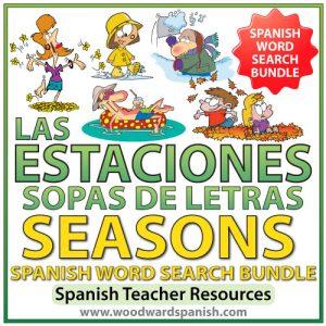 Seasons in Spanish Word Search Bundle - Sopas de Letras de las estaciones - invierno, primavera, verano, otoño