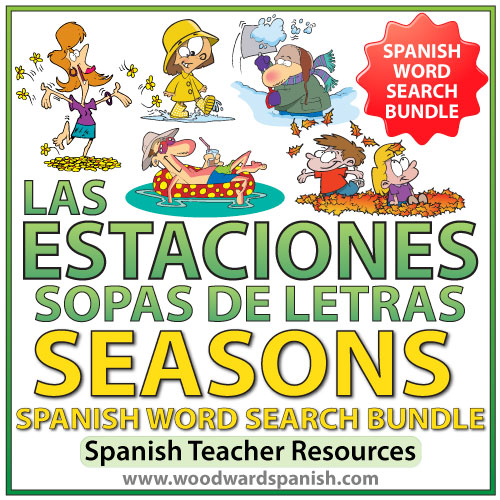 Seasons in Spanish Word Search Bundle - Sopas de Letras de las estaciones - invierno, primavera, verano, otoño