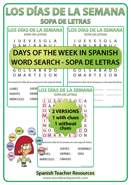Spanish Days of the Week Word Search - Sopa de Letras con los días de la semana en español