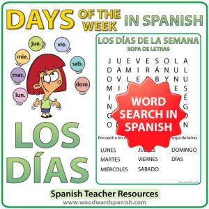Spanish Days of the Week Word Search - Sopa de Letras con los días de la semana en español