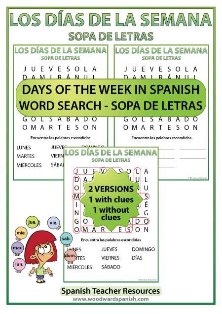 Spanish Days Word Search - Sopa de Letras con los días de la semana en español
