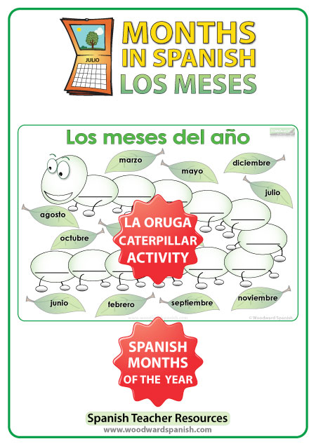 Spanish months activity - The Caterpillar - La Oruga - Una actividad con los meses del año en español