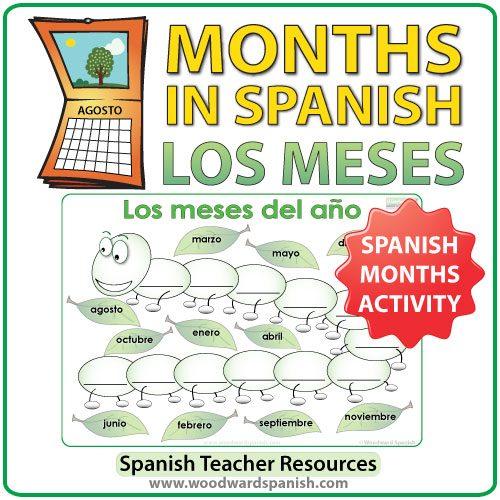 Spanish months activity - The Caterpillar - La Oruga - Una actividad con los meses del año