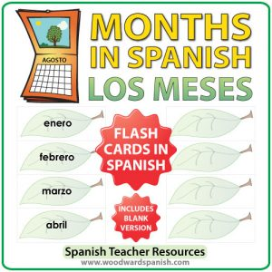 Spanish Flash Cards with the months of the year. Tarjetas con los meses del año en español
