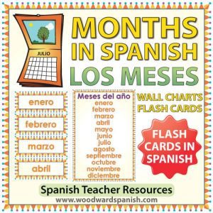 Spanish Months Flash Cards and Charts. Tarjetas y afiches con los meses del año en español