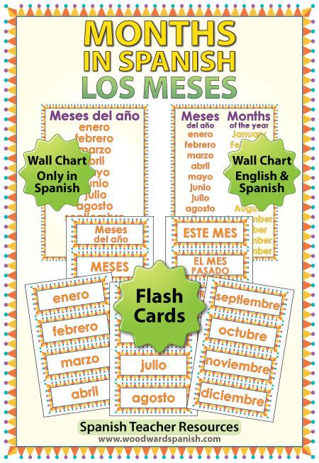 Spanish Months Flash Cards and Charts. Tarjetas y afiches con los meses del año en español