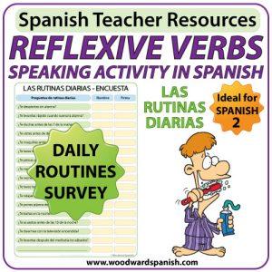 Spanish reflexive verbs speaking activity - Daily Routines Survey - Una encuesta de las rutinas diarias