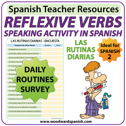 Spanish reflexive verbs speaking activity - Daily Routines Survey - Una encuesta de las rutinas diarias