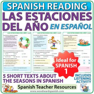 Seasons in Spanish reading comprehension and vocabulary - 4 textos cortas de las estaciones del año con actividades de comprensión de lectura.