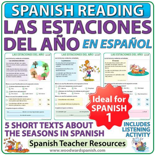 Seasons in Spanish reading comprehension and vocabulary - 4 textos cortas de las estaciones del año con actividades de comprensión de lectura.