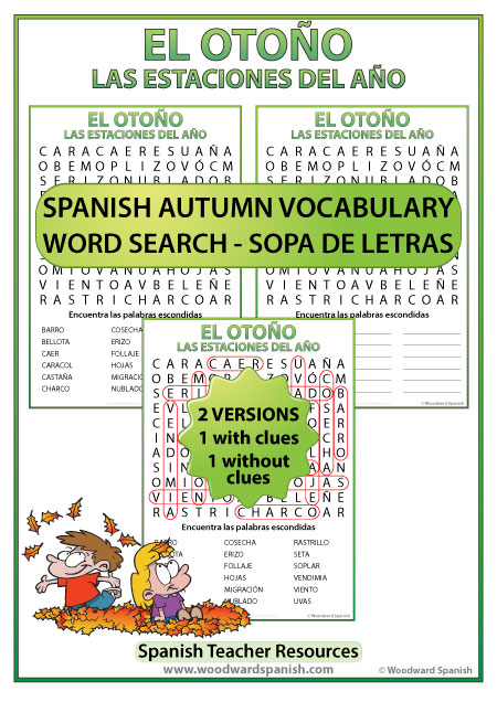 Autumn Fall Spanish Word Search - Sopa de Letras con vocabulario del otoño