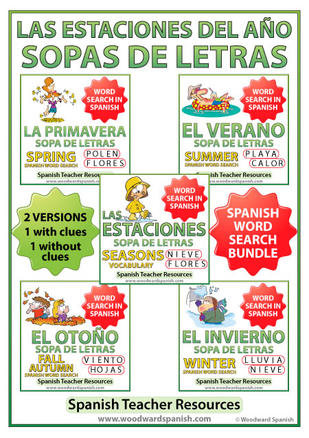 Seasons Spanish Word Search Bundle - Sopas de Letras con vocabulario de las estaciones del año - primavera, verano, otoño y invierno.