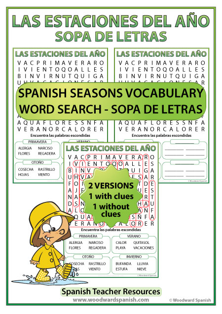 Seasons Spanish Word Search - Sopa de Letras con vocabulario de las estaciones del año