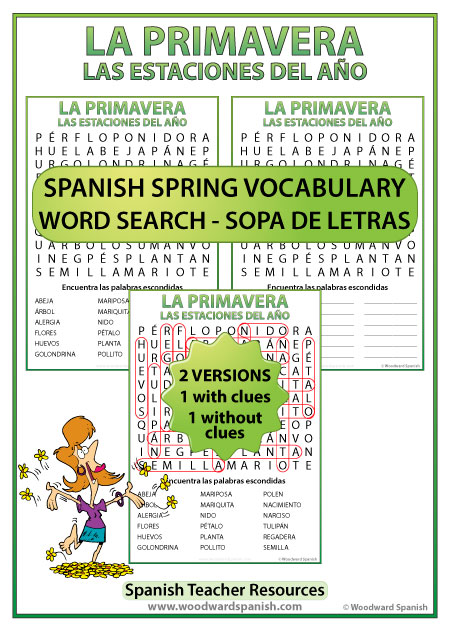 Spring Spanish Word Search - Sopa de Letras con vocabulario de la primavera