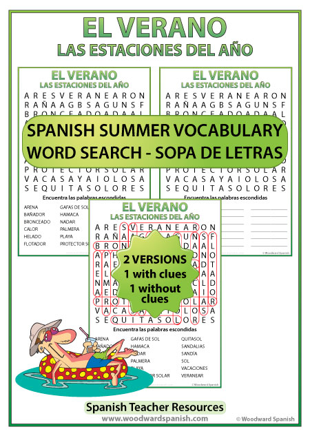 Summer Spanish Word Search - Sopa de Letras con vocabulario del verano