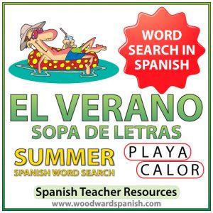 El verano - Summer - Spanish Word Search - Sopa de Letras