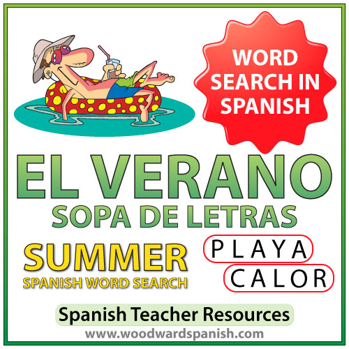 El verano - Summer - Spanish Word Search - Sopa de Letras