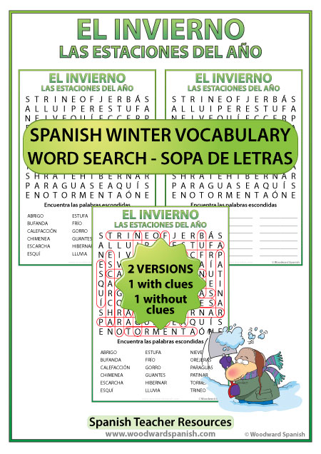 Winter Spanish Word Search - Sopa de Letras con vocabulario del invierno