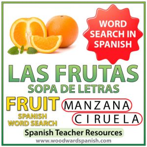 Spanish Fruit Word Search - Sopa de letras de las frutas en español