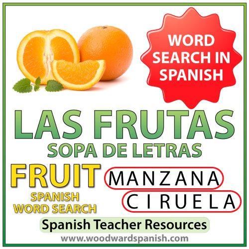 Spanish Fruit Word Search - Sopa de letras de las frutas en español