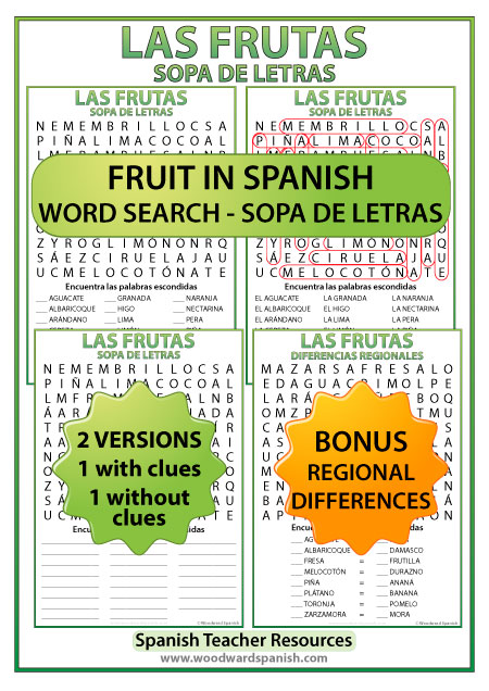 Spanish Fruit Word Search including versions with regional differences in the names of fruit - Sopa de letras de las frutas en español