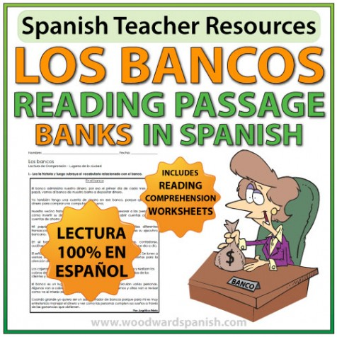 Spanish Reading passage with comprehension worksheets - Banks - Los Bancos