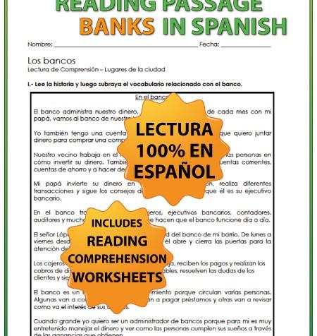 Spanish Reading passage about Banks - Una lectura acerca de los bancos en español