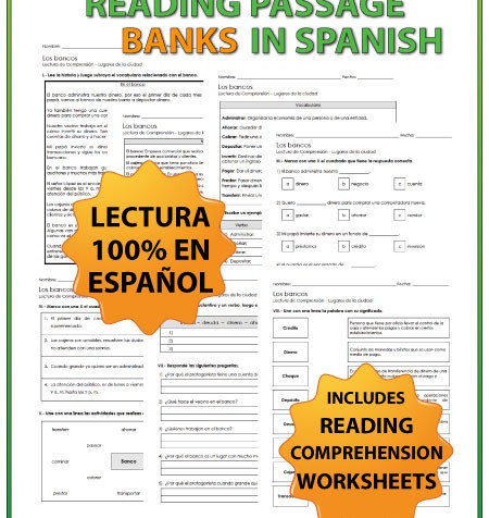 Spanish Reading passage about banks with comprehension worksheets - Lectura de los bancos en español