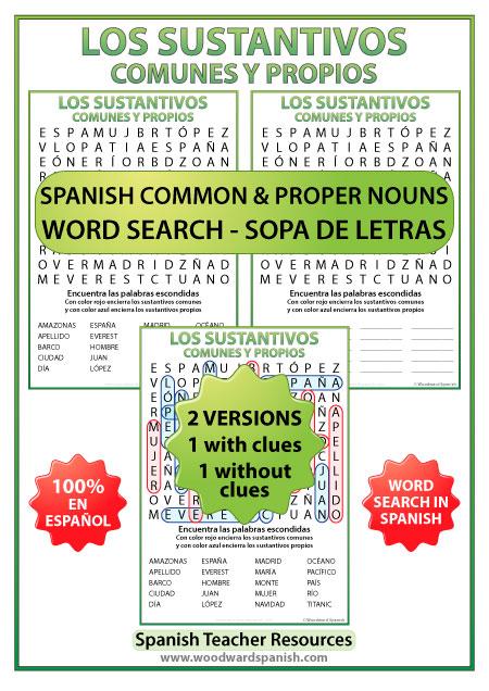 Spanish Common Nouns and Proper Nouns Word Search - Los sustantivos comunes y propios en español - Sopa de Letras