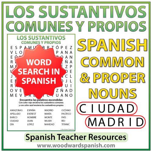 Los sustantivos comunes y propios en español - Sopa de Letras - Spanish Common Nouns and Proper Nouns Word Search