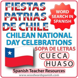 Sopa de letras con vocabulario de las Fiestas Patrias de Chile - Chilean National Day Celebrations Word Search
