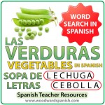 Spanish Vegetables Word Search. Includes a version with regional differences of the names of some vegetables. Sopa de letras - Las verduras en español.