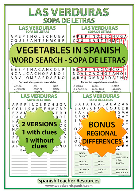 Vegetables in Spanish Word Search. Includes a version with regional differences of the names of some vegetables. Sopa de letras - Las verduras en español.