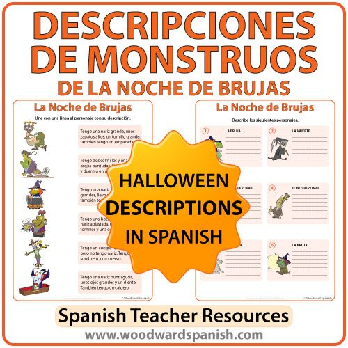 Spanish Halloween Monster Descriptions Worksheets - Descripciones de monstruos de la Noche de Brujas